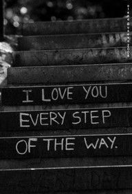 cute idea for wedding or engagement photo! id have the bride and grooms feet above the quote on the steps!