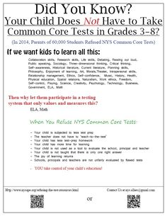 NY: Did You Know? Your Child Does NOT Have to Take CC tests in Grades 3-8?