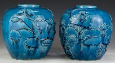 """Pair Chinese Antique Blue Glazed Porcelain Jars: both signed 'WANG BINGRONG' on the bases and Circa 1900; Size: H: 8-3/4"""""""