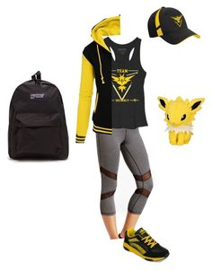 """""""Team Instinct Gym Leader"""" by christina-balog ❤ liked on Polyvore featuring Ideology, yeswalker, Pokemon, TeamYellow and PokemonGO"""