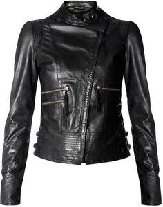 Mango Biker Leather Jacket in Black