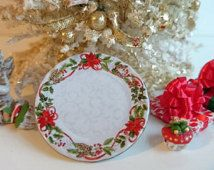 Christmas Holly Ribbons Dollhouse Miniature Round Platter