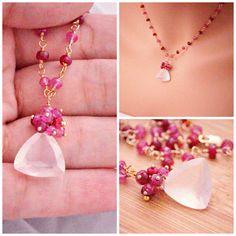 Lovelu Valentine jewelry Genuine Pink sapphires and Ruby Necklace by INAYAAZ