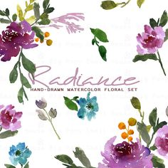 Watercolour Floral Clipart. Handmade watercolour clipart