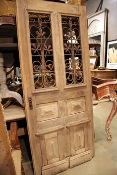 French Doors For Sale   Antique French Wooden Door with Iron Elements   Antiquaire