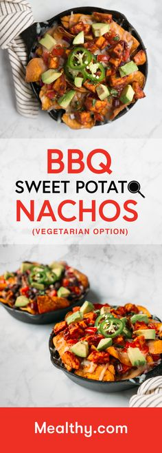 A healthy, homemade BBQ sauce comes together right in the pan with your chicken, which then tops sweet potato chips, along with cheese and other nacho toppings. Healthy Food Options, Vegetarian Options, Healthy Recipes, Quick Recipes, Potato Recipes, Healthy Foods, Vegetarian Recipes, Chicken Recipes, Sweet Potato Nachos