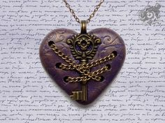 Gateway to Acheron pendant - Dante's Inferno inspired - Purple & bronze polymer clay heart, metal key and chains - Gothic Literary Medieval