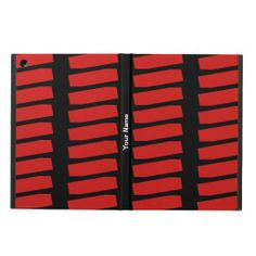 iPad Air Folio Case, Red Abstract Pattern on Black - This iPad Air case is decorated with a pattern of repeating red shapes on a black background, and personalized with name or other text. It's easy to modify or delete example text. What a wonderful case for your new iPad! Great gift for graduation, Mother's Day, Father's Day, Christmas ... All Rights Reserved © 2014 Alan & Marcia Socolik. #Red #iPadAir