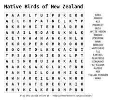 Word Search on Native Birds of New Zealand
