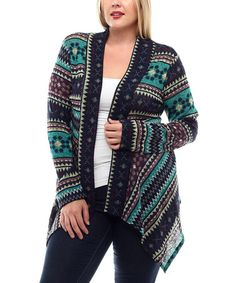 Another great find on #zulily! Jade Geometric Sidetail Open Cardigan - Plus by Celeste #zulilyfinds