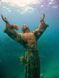 The Statue of Christ of the Abyss - Pennekamp Park, Key Largo Marine Sanctuary, Florida. A unique and unusual dive site off the coast of Key Largo, the underwater Christ statue. Christ Of The Abyss, Jason Decaires Taylor, Underwater Sculpture, All Nature, Foto Art, Underwater Photography, Marine Life, Statues, Belle Photo