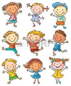 Nueve ni os felices bailando o saltando de alegr a no degradados aislados Foto de archivo                                                                                                                                                                                 Más