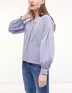 Camisa popelín volante - Camisas | Stradivarius Colombia