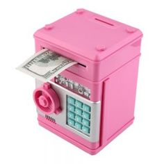 Material: Plastic Model Number: 77 Shape: Money Safe Box Material: Plastic + Electronic Size: cm * 13 cm * cm Power by: AA battery Color: dark/blue/red/ silver/black/pink/ orange Cool Ideas, Money Safe Box, Money Tin, Money Saving Box, Accessoires Ipad, Savings Box, Cool Inventions, Toys For Girls, Cool Gadgets