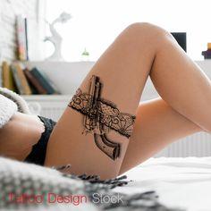 Gun garter tattoo design idea Tattoos And Body Art professional tattoo artist Bild Tattoos, Sexy Tattoos, Unique Tattoos, Body Art Tattoos, Small Tattoos, Sleeve Tattoos, Tattoos For Guys, Gun Tattoos, Maori Tattoos