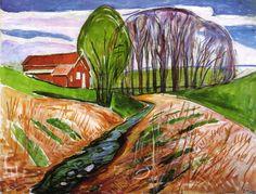 Edvard Munch Edvard Munch (1863-1944). Obra: Paisaje de primavera con casa roja. Año de origen: 1935.