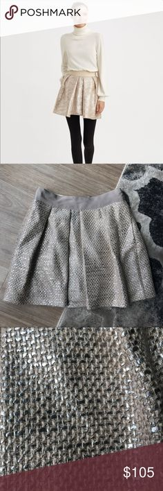 Milly Metallic Tweed Pleated Skirt 2 Gorgeous and super-high quality tweed skirt with silvery metallic foiling. Size 2. As seen on Olivia Palermo! So cute and perfect for fall! Offers welcome, no trades. Milly Skirts Mini