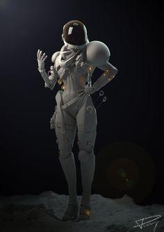 Sci Fi  Astronaut, Julien Desroy on ArtStation at https://www.artstation.com/artwork/sci-fi-astronaut