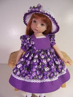 """""""Pretty Purple Posies"""" Made for 13"""" Effner Little Darling ~ by TDDesigns"""