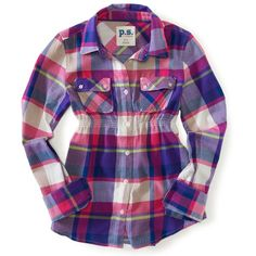 PS From Aeropostale Kids' Long Sleeve Plaid Woven Camp Shirt ($17) ❤ liked on Polyvore