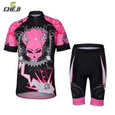 CHEJI Female Pink Devil Cycling Jersey T-Shirts and Bib Shorts Sleeve Mountain Bike Bicycle Shorts Sets Bicycle Sport Suit