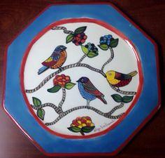 Plato 29 cm diámetro cerámica pintada a mano por Olga Bertrand