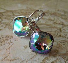 havranka / Earrings Swarowski Cushion Cut Crystal Paradise Shine