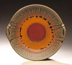 """""""Platter With Two Handles""""  Ceramic Platter    Created by Mike Walsh  Wheel-thrown and hand-built stoneware platter, decorated with iron and ash glazes. Food, microwave, dishwasher, and oven safe if placed in a cold oven to preheat. Signed and dated on bottom."""