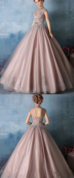 Vintage Tulle & Satin High Collar Ball Gown Prom Dresses With Beaded Lace Appliques
