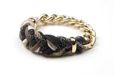 Brown and Black Braided Bangle Bracelet  Organic by LoveLush, $18.00
