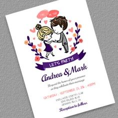 I Do, Me Too Let's Party Wedding Invitation Template - Free to download; print at home