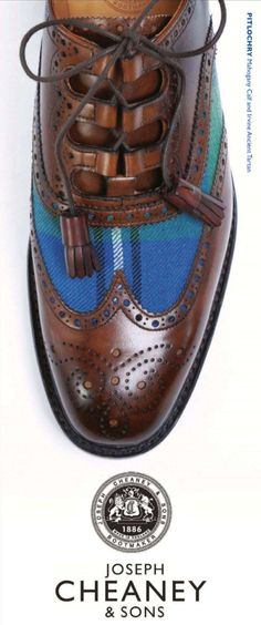 'Pitlochry' calf & ancient Irvine Tartan, from Joseph Cheaney & Sons - since 1886. Shoe lacing detail.
