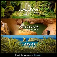 meet the world .in Greece.The pictures are from the places in Greece in small fonts. Places Around The World, Oh The Places You'll Go, Places To Visit, Around The Worlds, Places In Greece, Nature Beach, Paradise On Earth, Greece Islands, Holiday Pictures