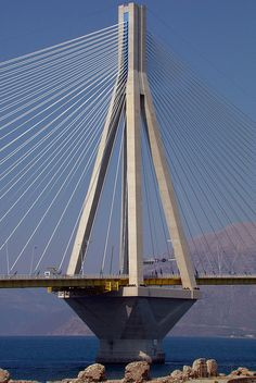 Rio-Antirio Bridge.  The longest multi span cable stayed bridge in the world.  From Peloponesso to the Sterea Ellada, GREECE.   (by Ava Babili, via Flickr)