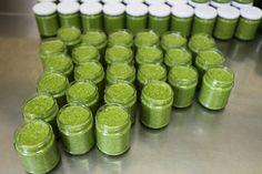 Fresh pesto genovese jars ready to be hand-packed Pesto Recipe, Street Food, Jars, Fresh, Pots, Japanese Street Food, Vases, Bottle, Glass Jars