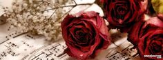 Red roses and music. Cover Pics For Facebook, Fb Cover Photos, Twitter Cover, Timeline Photos, Romantic Love Couple, Romantic Notes, Cover Wallpaper, Music Wallpaper, Facebook Banner