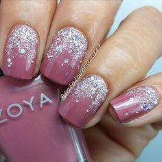 Mauve Silver Glitter Nail Art