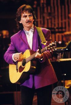 """OCTOBER 16,1992 Bob Dylan's 30th anniversary concert Madison Square Garden, NYC  """"George admired what he wrote and admired him as a person for having a different take on things. George was like that too. You never really knew what his reaction was going to be to something. He had a different slant, a different pattern."""" - Olivia Harrison"""