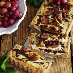 {recipe} Ricotta Fig Tart with Chocolate and Roasted Grapes