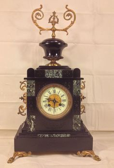 The porcelain face on this clock is immaculate. No hairline cracks, chips or missing pieces. Has the name of a Doussard Barthelemy on it that was probably a jeweler. This is an old clock, and amazingly is see no cracking going on. | eBay!