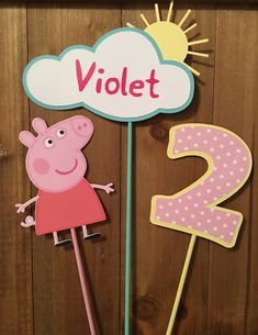 Peppa Pig Centerpiece Sticks by ThePrettyPartyShop on Etsy