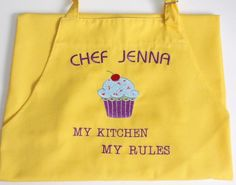 Cupcake PERSONALIZED Chef Apron Embroidered Cooking Kitchen BBQ restaurant #ApartmentK9West
