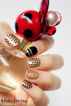 pretty polka dot nails for party time in gold and black www.finditforweddings.com Nail Art