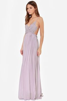 Blooming Prairie Crocheted Dusty Lavender Maxi Dress at LuLus.com! OBSESSED