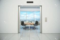 Conference room with city view is appeared from the elevator doors Archivio Fotografico - 47842267