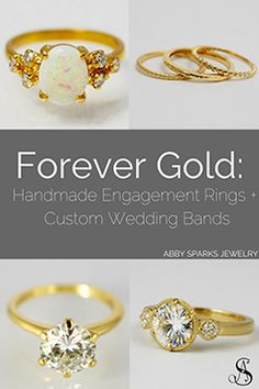 Stay bold and timeless with gold jewelry! Handmade, custom engagement rings and wedding bands. Custom designs by Abby Sparks Jewelry, custom jewelry designer in Denver, Colorado.