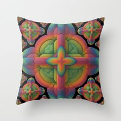 Obsessive Repetition Throw Pillow by Lyle Hatch - $20.00 #pillow #cushion #giftidea #artwork #abstract #fractal #symmetry