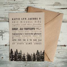 Rustic Wedding Invitations - Vintage, Kraft, forest, woodland wedding, kraft paper, Invitation, RSVP cards, insert, eco friendly, trees