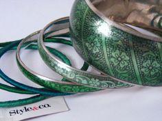 STYLE & CO SILVER PLATE/GREEN BANGLE 6-PC BRACELET NEW #Bangle