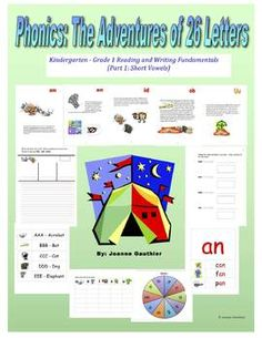 This is a  reading and writing resource which introduces and practices short vowels and the most common consonants in a story format.  Also includes accompanying workbook, illustrated word wall and follow up activities.